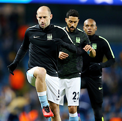 Pablo Zabaleta of Manchester City warms up - Mandatory byline: Matt McNulty/JMP - 15/03/2016 - FOOTBALL - Etihad Stadium - Manchester, England - Manchester City v Dynamo Kyiv - Champions League - Round of 16