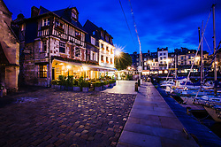 Quai Sainte Etienne, Honfleur, France in the evening