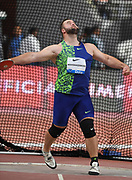 Lukas Weisshaidinger (AUT) places second in the discus at 219-6 (66.90m) during the IAAF Doha Diamond League 2019 at Khalifa International Stadium, Friday, May 3, 2019, in Doha, Qatar
