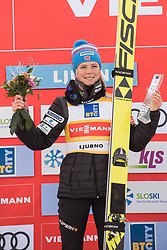 February 8, 2019 - aren Lundby of Norway on podium celebrates her victory at first competition day of the FIS Ski Jumping World Cup Ladies Ljubno on February 8, 2019 in Ljubno, Slovenia. (Credit Image: © Rok Rakun/Pacific Press via ZUMA Wire)