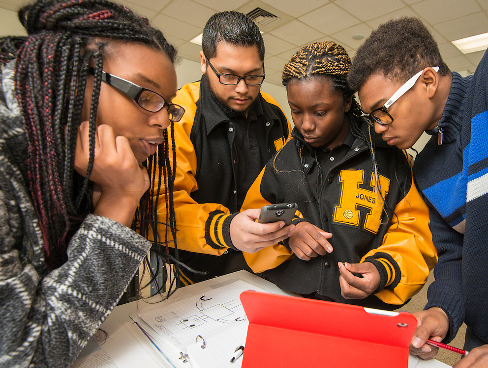 Students from the Jones Futures Academy work in circuit design in an electronics lab at the Houston Community College central campus, November 14, 2014.