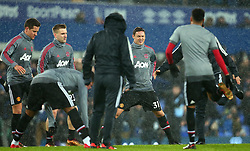 Nemanja Matic of Manchester United warms up with teammates in the rain - Mandatory by-line: Robbie Stephenson/JMP - 01/01/2018 - FOOTBALL - Goodison Park - Liverpool, England - Everton v Manchester United - Premier League