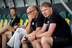 (L-R) Dirk Heesen, coach Alfons Fons Groenendijk of ADO Den Haag during the Pre-season Friendly match between ADO Den Haag and Panathinaikos at the Cars Jeans Stadium on July 28, 2018 in The Hague, The Netherlands