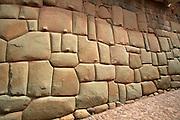 PERU, HIGHLANDS, CUZCO Calle Hatunrumiyoc Inca stonework