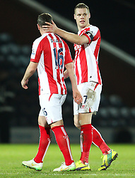 Stoke City's Ryan Shawcross celebrates - Photo mandatory by-line: Matt McNulty/JMP - Mobile: 07966 386802 - 26/01/2015 - SPORT - Football - Rochdale - Spotland Stadium - Rochdale v Stoke City - FA Cup Fourth Round