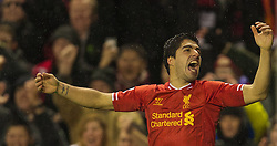 28.01.2014, Anfield, Liverpool, ENG, Premier League, FC Liverpool vs FC Everton, 23. Runde, im Bild Liverpool's Luis Suarez celebrates scoring the fourth goal against Everton // during the English Premier League 23th round match between Liverpool FC and Everton FC at Anfield in Liverpool, Great Britain on 2014/01/29. EXPA Pictures © 2014, PhotoCredit: EXPA/ Propagandaphoto/ David Rawcliffe<br /> <br /> *****ATTENTION - OUT of ENG, GBR*****