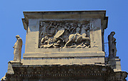 Relief detail from The Arch of Constantine, a triumphal, or victory arch in Rome. It is positioned between the Collosseum and the Palatine Hill. It commemorates Emperor Constantine's victory in the Battle of Milvian Bridge in the early 4th century AD. It was dedicated in 315 AD and features reliefs/friezes documenting previous Emperors and victory figures.