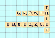 Digitally created Scrabble tiles on a board spelling out embezzlement and white collar crimes
