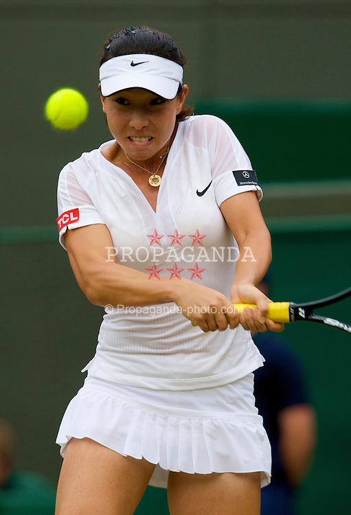 LONDON, ENGLAND - Friday, June 27, 2008: Jie Zheng (CHN) during her 3rd round victory on day five of the Wimbledon Lawn Tennis Championships at the All England Lawn Tennis and Croquet Club. (Photo by David Rawcliffe/Propaganda)