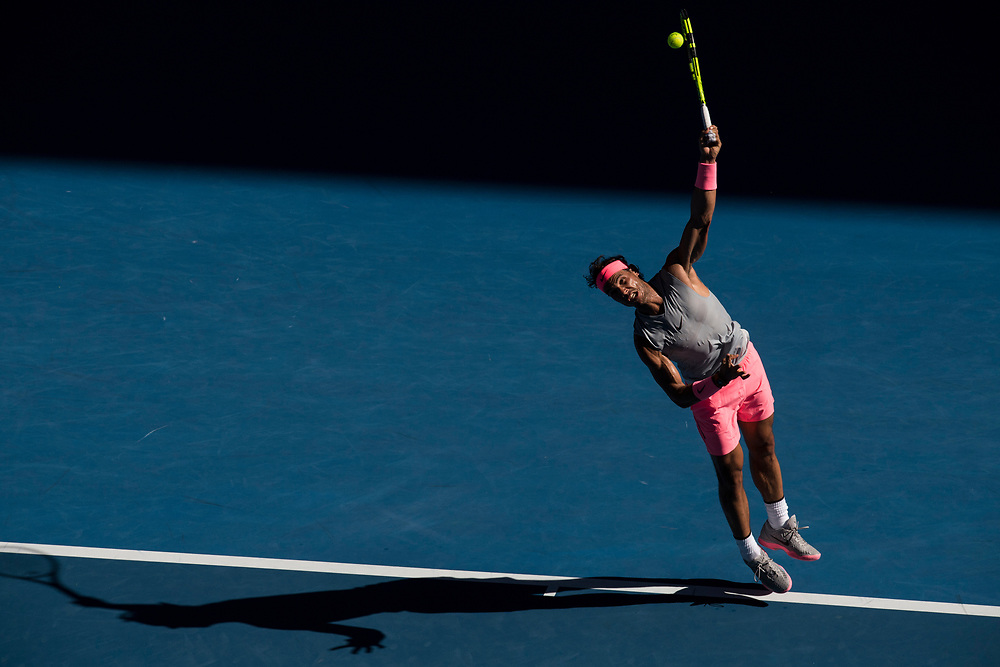 Rafael Nadal of Spain on day three of the 2018 Australian Open in Melbourne Australia on Wednesday January 17, 2018..<br /> (Ben Solomon/Tennis Australia)