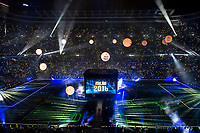 Light show during the celebration of the victory of the Real Madrid Champions League at Santiago Bernabeu in Madrid. May 29. 2016. (ALTERPHOTOS/Borja B.Hojas)