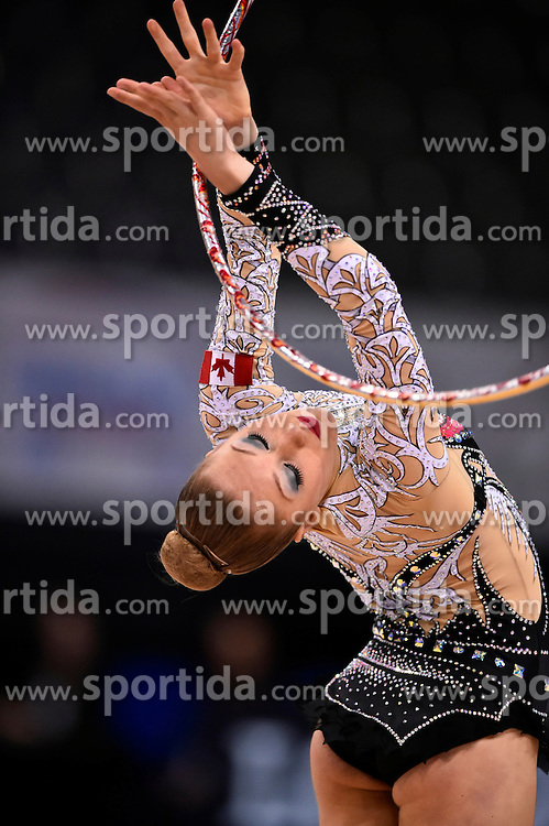 08.09.2015, Porsche Arena, Stuttgart, GER, Gymnastik WM, Gruppe D, im Bild Carmen Whelan (CAN) Reifen // during the World Rhythmic Gymnastics Championships at the Porsche Arena in Stuttgart, Germany on 2015/09/08. EXPA Pictures &copy; 2015, PhotoCredit: EXPA/ Eibner-Pressefoto/ Weber<br /> <br /> *****ATTENTION - OUT of GER*****