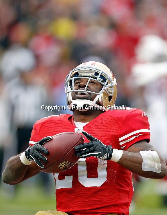 San Francisco 49ers running back Brian Westbrook (20) celebrates after running for a third quarter touchdown that gives the Niners a 31-7 lead during the NFL week 17 football game against the Arizona Cardinals on Sunday, January 2, 2011 in San Francisco, California. The 49ers won the game 38-7. (©Paul Anthony Spinelli)