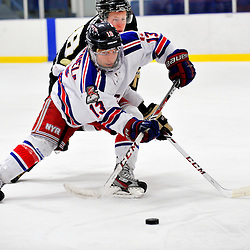 NORTH YORK, ON - Feb 9 : Ontario Junior Hockey League Game Action between North York Rangers Hockey Club and the Trenton Golden Hawks Hockey Club.  Gabriel Valenzuela #13 of the North York Rangers Hockey Club skates with the puck.<br /> (Photo by Phillip Sutherland / OJHL Images)