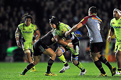 Magnus Lund of Sale Sharks takes on the Harlequins defence - Mandatory byline: Patrick Khachfe/JMP - 07966 386802 - 06/11/2015 - RUGBY UNION - The Twickenham Stoop - London, England - Harlequins v Sale Sharks - Aviva Premiership.