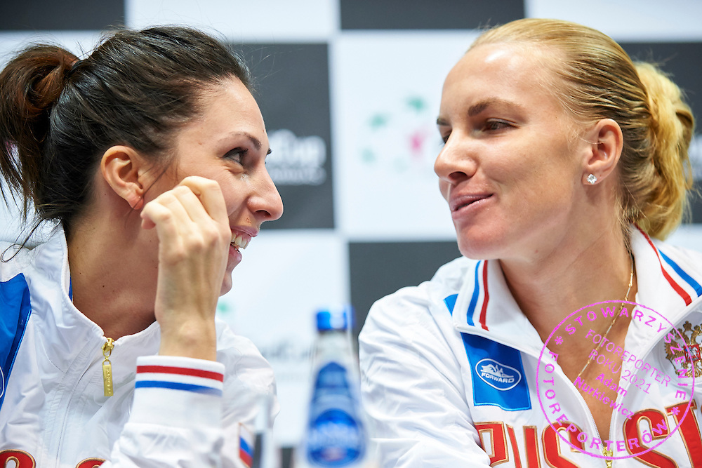 (L) Trainer coach Anastasia Myskina and (R) Svetlana Kuznetsova both from Russia during official press conference three days before the Fed Cup / World Group 1st round tennis match between Poland and Russia at Krakow Arena on February 4, 2015 in Cracow, Poland<br /> Poland, Cracow, February 4, 2015<br /> <br /> Picture also available in RAW (NEF) or TIFF format on special request.<br /> <br /> For editorial use only. Any commercial or promotional use requires permission.<br /> <br /> Mandatory credit:<br /> Photo by &copy; Adam Nurkiewicz / Mediasport