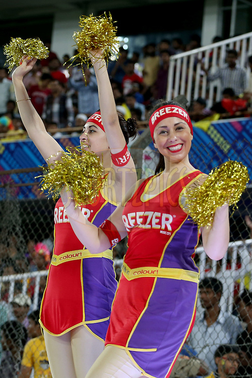Breezer CLT20 dancers performing during the second semi final match of the Oppo Champions League Twenty20 between the Kings XI Punjab and the Chennai Super Kings held at the Rajiv Gandhi Cricket Stadium, Hyderabad, India on the 2nd October 2014. Photo by:  Jacques Rossouw / Sportzpics/ CLT20<br /> <br /> <br /> Image use is subject to the terms and conditions as laid out by the BCCI/ CLT20.  The terms and conditions can be downloaded here:<br /> <br /> http://sportzpics.photoshelter.com/gallery/CLT20-Image-Terms-and-Conditions-2014/G0000IfNJn535VPU/C0000QhhKadWcjYs