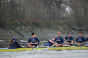 Putney, GREAT BRITAIN,  Alex WOODS loses his oar/blade after clipping one of the oars from Spitfireduring the 2012 Varsity/Oxford University Trial Eights, raced over the championship course. Putney to Mortlake, Thursday  13/12/2012  . [Mandatory Credit, Peter Spurrier/Intersport-images