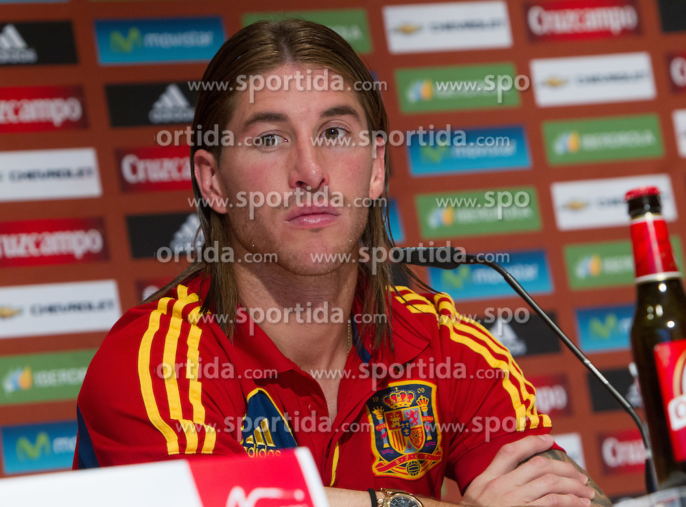 24.05.2012, Haus des Gastes, Schruns, AUT, UEFA EURO 2012, Trainingslager, Spanien, Pressekonferenz, im Bild Sergio Ramos (ESP) // Sergio Ramos  of Spain during Pressconference of Spanish National Footballteam for preparation UEFA EURO 2012 at Haus des Gastes, Schruns, Austria on 2012/05/24. EXPA Pictures © 2012, PhotoCredit: EXPA/ Johann Groder