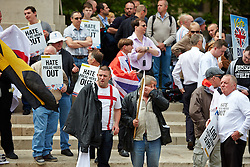 © Licensed to London News Pictures.  01/06/2013. LONDON, UK. BNP supporters protest in Whitehall. Police were forced to separate rival protests by the BNP and anti-fascist groups in Whitehall. The BNP initially wanted to march in Woolwich, scene of the murder of a solider recently, but were banned by police from doing so.  Photo credit: Cliff Hide/LNP