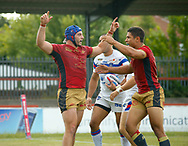 Benjamin Jullien of Catalans Dragons celebrates scoring the try with team mate David Mead (R) against Wakefield Trinity during the Betfred Super League match at the Mobile Rocket Stadium, Wakefield<br /> Picture by Stephen Gaunt/Focus Images Ltd +447904 833202<br /> 07/07/2018