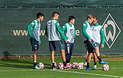 27.10.2014, Trainingscenter, Bremen, GER, 1. FBL, SV Werder Bremen, Training, im Bild von links, Santiago Garcia (SV Werder Bremen #2), Franco Matías Di Santo / Franco Matias Di Santo (SV Werder Bremen #9), Zlatko Junuzovic (SV Werder Bremen #16), Felix Kroos (SV Werder Bremen #18) und Alejandro Galvez (SV Werder Bremen #4) mit weißen Leibchen // during a Trainingssession of German Bundesliga Club SV Werder Bremen at the Trainingscenter in Bremen, Germany on 2014/10/27. EXPA Pictures © 2014, PhotoCredit: EXPA/ Andreas Gumz<br /> <br /> *****ATTENTION - OUT of GER*****