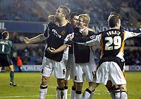 Photo: Chris Ratcliffe.<br /> Millwall v Hull FC. Coca Cola Championship. 14/02/2006.<br /> Jon Parkin of Hull celebrates with his team mates after scoring the Hull opening goal