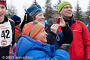 Fans  celebrating after the MN State HS Nordic Ski Races.