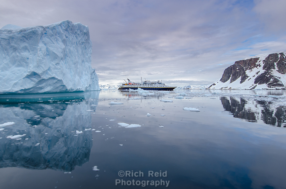 National Geographic Orion in the ice of Dallmann Bay in Antarctica.