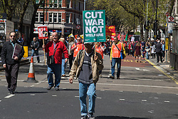 London, May 1st 2016. Members of various trade unions and workers' groups march through London on May Day, International Workers' Day. &copy;Paul Davey<br /> FOR LICENCING CONTACT: Paul Davey +44 (0) 7966 016 296 paul@pauldaveycreative.co.uk