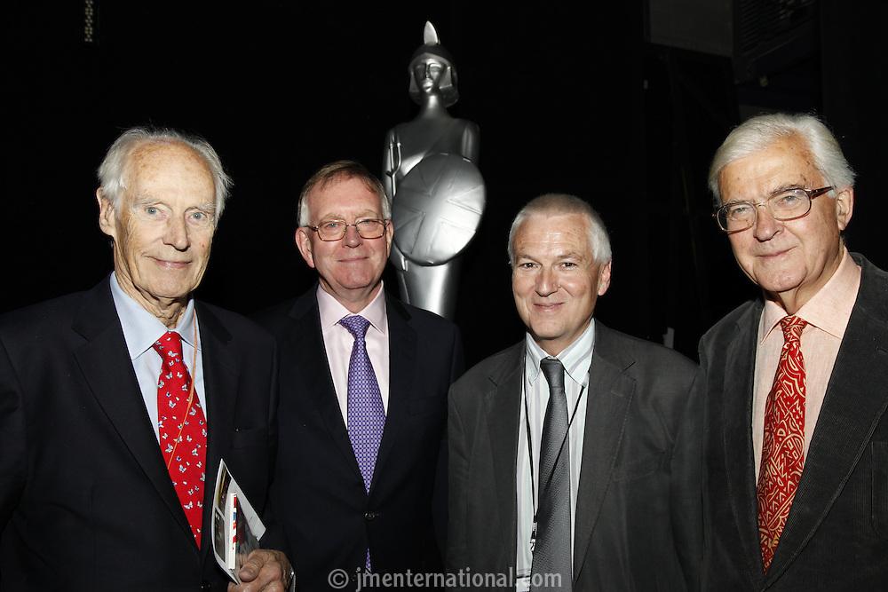 Sir George Martin CBE,  John Deacon CBE, Nick Williams (BRIT School Principal) and Lord Baker of Dorking (l-r)  The BRIT School Industry Day, Croydon, London..Thursday, Sept.22, 2011 (John Marshall JME)