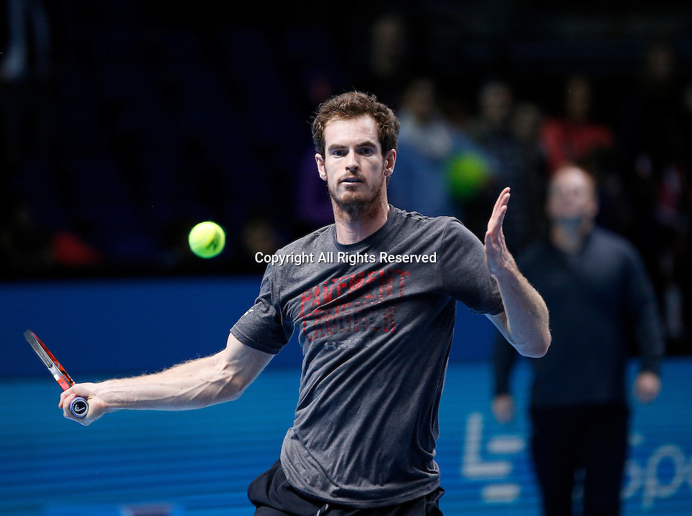 14.11.2016. The O2, London, England. ATP Tour Tennis Finals. Day Two. Andy Murray (GBR) pratices with his coach Ivan Lendl before his first match as World No.1  against Marin Cilic (CRO)  during Day 2  at Barclays ATP World Tour Finals from the O2 Arena