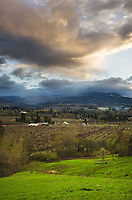 Clearing storm over orchards of Hood River Valley, Oregon