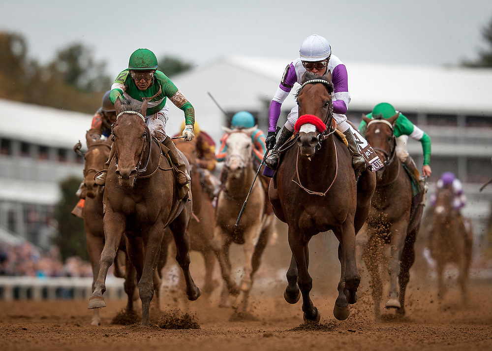 October 31, 2015:  Nyquist with Mario Gutierrez (right) defeats Swipe and Victor Espinoza to win the Breeders' Cup Juvenile at Keeneland Race Track in Lexington, Kentucky. Evers/ESW/CSM