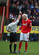 Charlton Athletic striker Simon Makienok getting booked  during the Sky Bet Championship match between Charlton Athletic and Ipswich Town at The Valley, London, England on 28 November 2015. Photo by Matthew Redman.