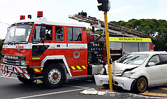 Auckland-Fire appliance collides with car, Botany