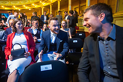 Dino Hotic and his girlfriend with Simon Rozman during SPINS XI Nogometna Gala 2019 event when presented best football players of Prva liga Telekom Slovenije in season 2018/19, on May 19, 2019 in Slovene National Theatre Opera and Ballet Ljubljana, Slovenia. Photo by Grega Valancic / Sportida.com