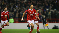 Eric Lichaj is overjoyed to give Forest the lead over Arsenal  during The Emirates FA Cup Third Round match between Nottingham Forest and Arsenal at City Ground on January 7, 2018 in Nottingham, England.