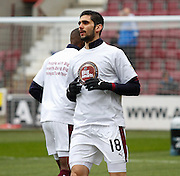 Hearts FC Defender Igor Rossi warming up in the hearts Charity T-Shirt during the Ladbrokes Scottish Premiership match between Heart of Midlothian and Kilmarnock at Tynecastle Stadium, Gorgie, Scotland on 27 February 2016. Photo by Craig McAllister.