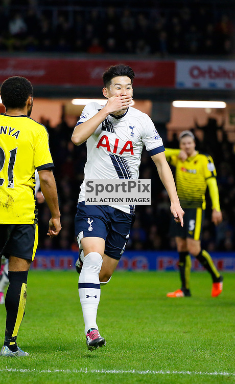Son Heung-min celebrates during Watford v Tottenham, Barclays Premier League, Monday 28th December 2015, Vicarage Road, Watford