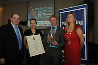 Roy O'Hanlon of Arcadia Business Coach presenting Customer Care Award to Nadine Conrad, and Fergus O Halloran the Twelve and Chariperson of the Marketing Institute Emma Dillon Leetch, during the Marketing Institute of Ireland West Region's Annual Awards at a gala awards attended by over 160 people in the Radisson Blu Hotel, Galway .  Photo:Andrew Downes.