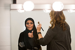 Halima Aden has her makeup done by makeup artist Brenda Torre for the Miss Minnesota USA pageant on Nov. 26, 2016 in Burnsville, MN, USA. Photo by Leila Navidi/Minneapolis Star Tribune/TNS/ABACAPRESS.COM