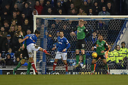 Portsmouth Defender, Christian Burgess (6) with a header at goal during the EFL Sky Bet League 1 match between Portsmouth and Scunthorpe United at Fratton Park, Portsmouth, England on 13 January 2018. Photo by Adam Rivers.