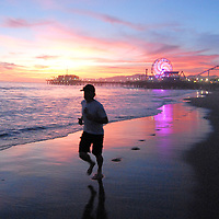 The sunset at Santa Monica Beach on Wednesday, March 30, 2011.