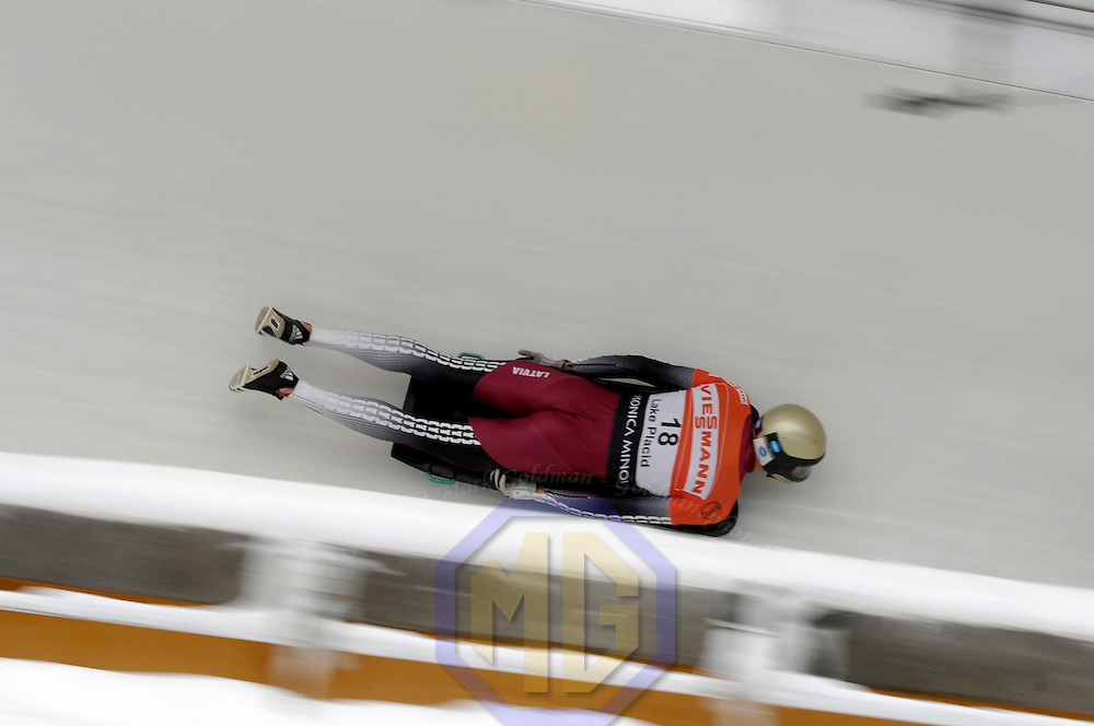 14 December 2007:  Tomass Dukurs of Latvia competes at the FIBT World Cup Men's skeleton competition on December 14, 2007 at the Olympic Sports Complex in Lake Placid, NY.  The race was won by Eric Bernotas of the United States.