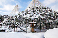 In winter, the Kenrokuen is noted for its yukitsuri which are ropes attached in a conical array to carefully support pine tree branches in the desired arrangements, which protects the trees from damage caused by heavy snows. Kenrokuen is one of the Three Great Gardens of Japan along with Kairakuen and Korakuen.