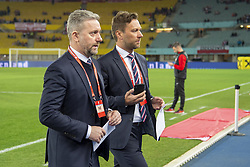 March 21, 2019 - Vienna, Austria - Polish Coach Jerzy Brzeczek pictured with Polish Media officer Jakub Kwiatkowski during the UEFA European Qualifiers 2020 match between Austria and Poland at Ernst Happel Stadium in Vienna, Austria on March 21, 2019  (Credit Image: © Andrew Surma/NurPhoto via ZUMA Press)