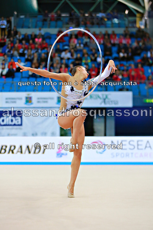 Mamun Margarita during final at hoop in Pesaro World Cup at Adriatic Arena on 12 April 2015. Margarita was born November 1,1995 in Moscow.