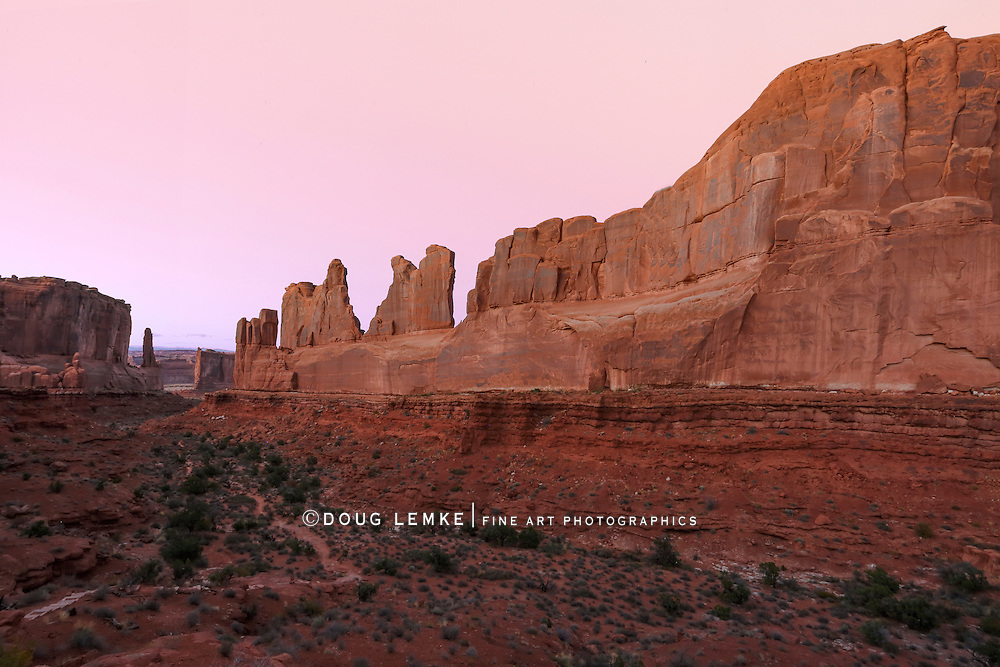 "The bizarre and beautiful rock forms of ""Park Avenue"" at Arches National Park, Utah, USA"