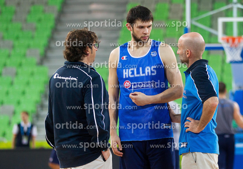 Andrea Trinchieri, head coach and Kostas Papanikolaou during training of National team of Greece before Round 2 at Day 7 of Eurobasket 2013 on September 10, 2013 in Arena Stozice, Ljubljana, Slovenia. (Photo by Vid Ponikvar / Sportida.com)